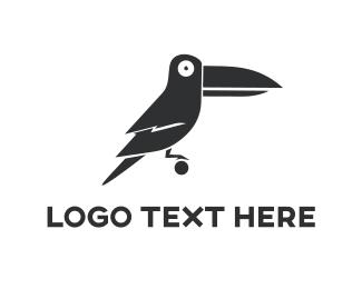 Black Toucan Cartoon Logo