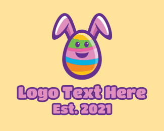 Party Game - Colorful Easter Bunny Egg logo design