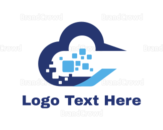 Cloud Drive - Thick Blue Tech Cloud logo design