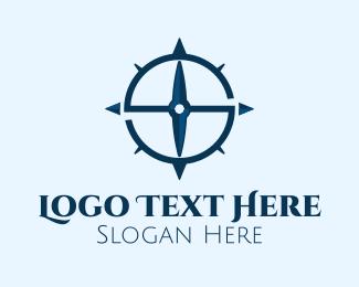 South - Blue Letter S Compass logo design