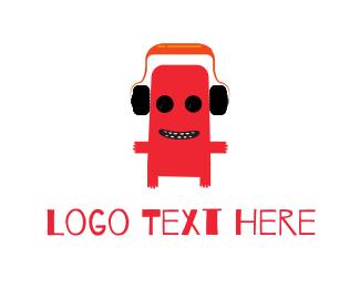 Producer - Red DJ Monster logo design