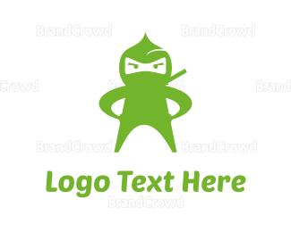 Fighting - Green Ninja logo design