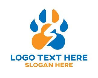 Doggie - Animal Paw Thunder logo design