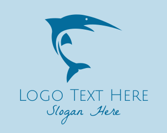Sea Fish - Fishing Blue Marlin logo design