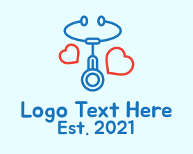Medical Stethoscope Love Logo