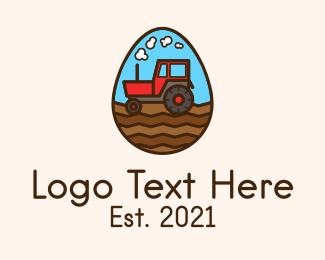Tractor - Agricultural Tractor Egg logo design