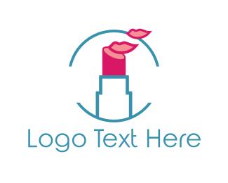 Kiss - Pink Lipstick  logo design