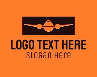 Air Courier - Orange Plane Cloche logo design