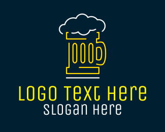 Neon Lights - Neon Beer Mug logo design