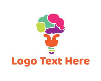Puzzle - Brain Bulb logo design