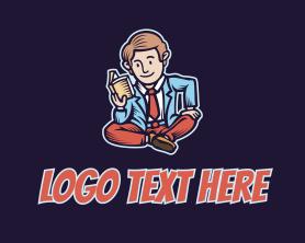 Intelligent - Reading Man Cartoon logo design