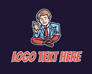 Comic Book - Reading Man Cartoon logo design