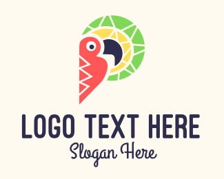 Tropic - Colorful Toucan Letter P logo design
