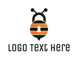 Hive - Bee Lock logo design