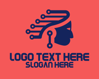 Apache - Modern Blue Indian logo design