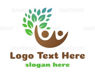 Couple - Brown Couple Leaf logo design