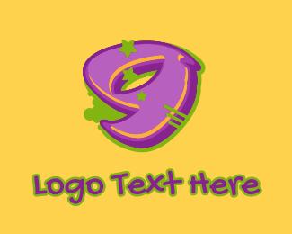 Hiphop Label - Graffiti Star Number 9 logo design