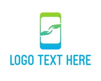 Support - Mobile App Hands logo design