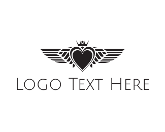 Heart - Winged Heart logo design