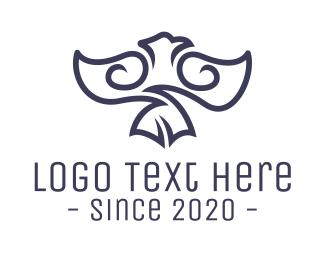 Native American - Blue Tribal Eagle logo design