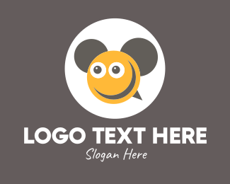 Message Bubble - Smiley Bee Ears logo design