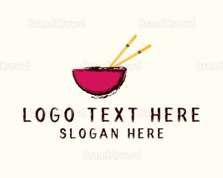 Bowl - Bowl & Chopsticks  logo design