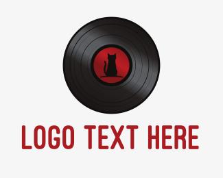 Disc Jockey - Cat Vinyl Record logo design