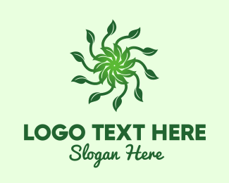 Sun - Leaf Sun logo design
