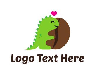 Chameleon - Dinosaur Coffee logo design