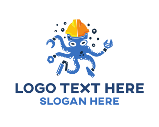 Construction Company - Handyman Octopus logo design