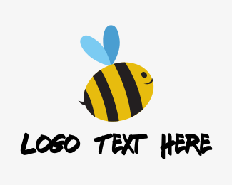 Inflatable - Cute Baby Bee logo design