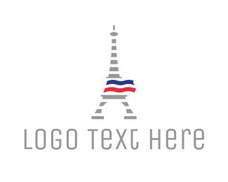 France - Striped Eiffel Tower logo design