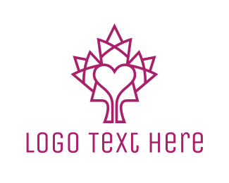 Mosaic - Mosaic Maple Leaf Heart logo design