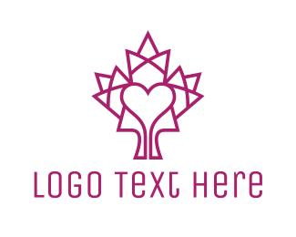 Ottawa - Mosaic Maple Leaf Heart logo design