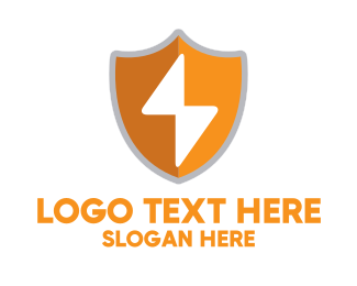 Knight Armor - Orange Security Shield logo design