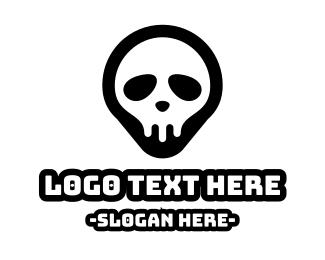 Cracked - Skull Pin logo design