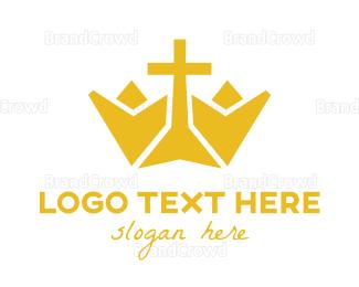 Yellow - Yellow Cross Crown logo design