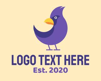 Ornithology - Violet Cartoon Bird logo design