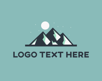 Snow - Moon & Mountains logo design