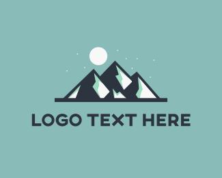 Winter - Moon & Mountains logo design