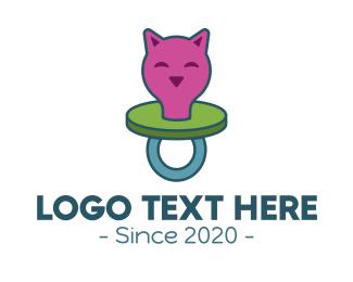 Baby Boutique - Kitten Baby Pacifier logo design