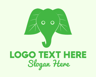 Trunk - Elephant Ear Leaves logo design