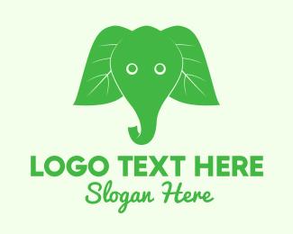 Pachyderm - Elephant Ear Leaves logo design