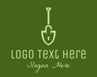 Dig - Green Shovel Padlock logo design