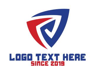 Alphabet - Blue Red Tech E logo design