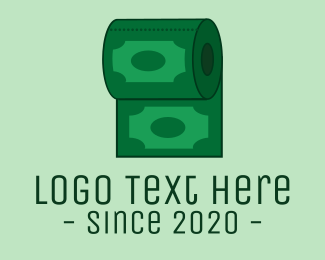 Dollar Bill - Toilet Paper Money logo design