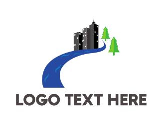 Riverside - Urban River logo design