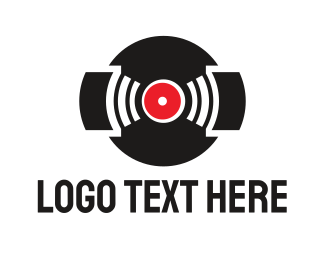 Music App - Black Vinyl Music Band logo design