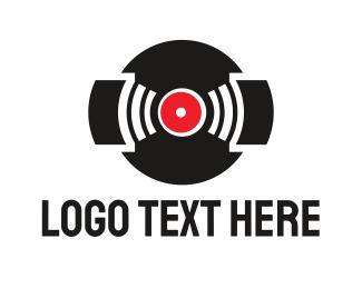 Dj - Black Vinyl Music  logo design