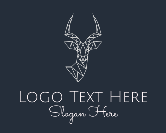 Forest Animal - Antelope Monoline logo design
